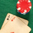 Old poker card aces chips — Stock Photo