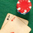 Royalty-Free Stock Photo: Old poker card aces chips