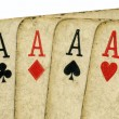 Royalty-Free Stock Photo: 4 vintage aces poker cards.