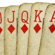 Royal flush old vintage poker cards. — Stock Photo #1885157