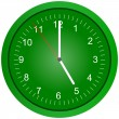 Green wall clock illustration. — Stock Photo #1885350