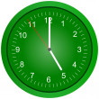 Green wall clock illustration. — Stock Photo