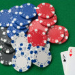 Two aces winning poker chips. - Stock Photo