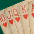Royal flush hearts vintage cards. — Stock Photo