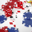 Gambling cards, chips and dice. — Stock Photo