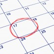 Stock Photo: A date circled on a calendar.