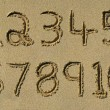 Numbers one to ten written in sand. — 图库照片