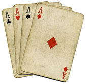 Four old dirty aces poker cards, isolate — Stock Photo