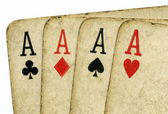 4 vintage aces poker cards. — Stock Photo