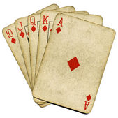 Royal flush old poker cards isolated. — Foto Stock
