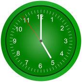 Green wall clock illustration. — Stock Photo