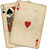 Blackjack dirty old cards isolated. — Stock Photo