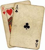 Ace King Big slick poker hand. — Stock Photo