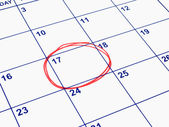 A date circled on a calendar. — Stock Photo