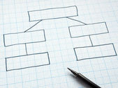 Organization chart drawn on graph paper. — Stock Photo