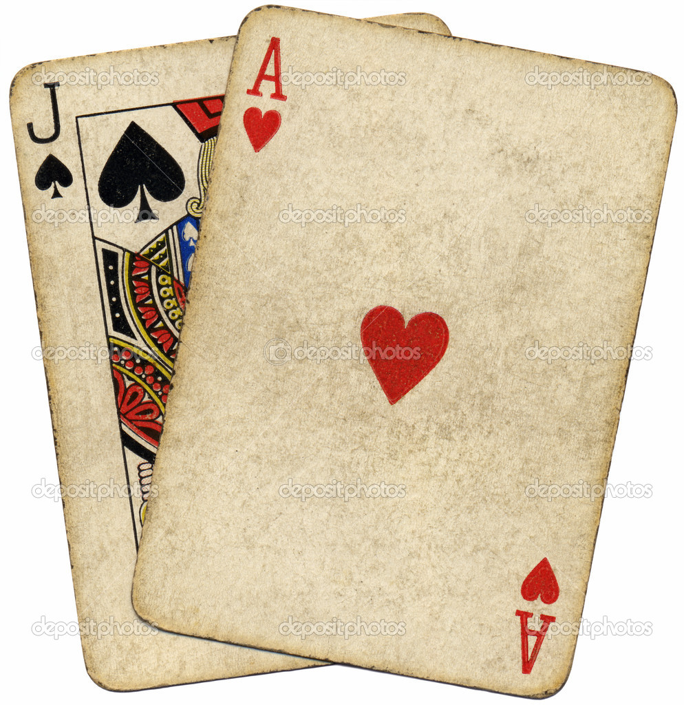 Blackjack Dirty Old Cards Isolated.