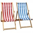 Royalty-Free Stock Photo: Two colorful deckchairs isolated.