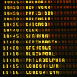Stock Photo: Airport airplane departures board.