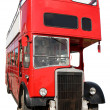 Stock Photo: An old red London double-decker bus.