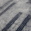 A close up of skid marks on a road. — Foto de Stock