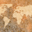 World map on old stained canvas paper — Stock Photo