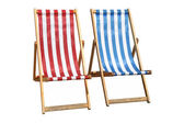 Two colorful deckchairs isolated. — Stock Photo