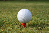 A golf ball on a red tee. — Stock Photo