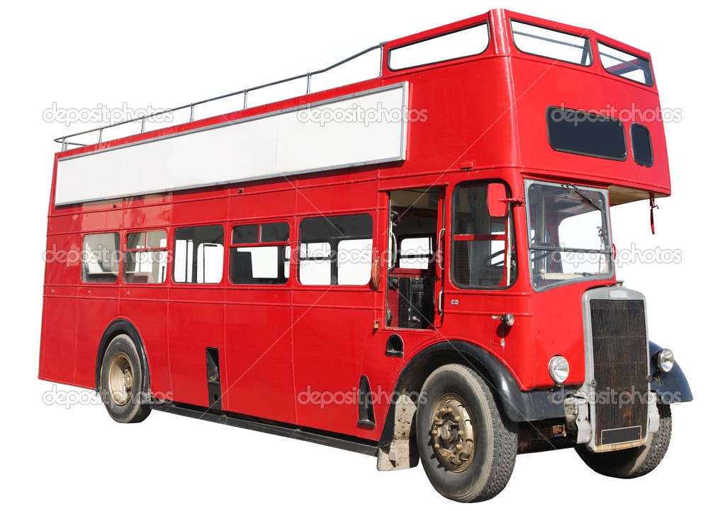 Old fashioned London red double-decker sightseeing open top bus, isolated on a white background. — Stock Photo #2287454