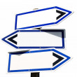 Blank three-way direction signpost. — Stock Photo