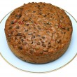 Home made fruit cake, isolated. — Stock Photo