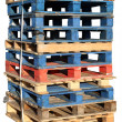Stock Photo: Stack of wooden pallets isolated.