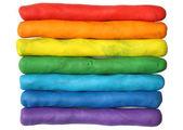 Duhové barvy plastelíny — Stock fotografie
