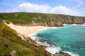Porthcurno beach in Cornwall, UK. — Stock Photo