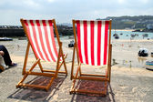 Two empty deckchairs. — Stock Photo