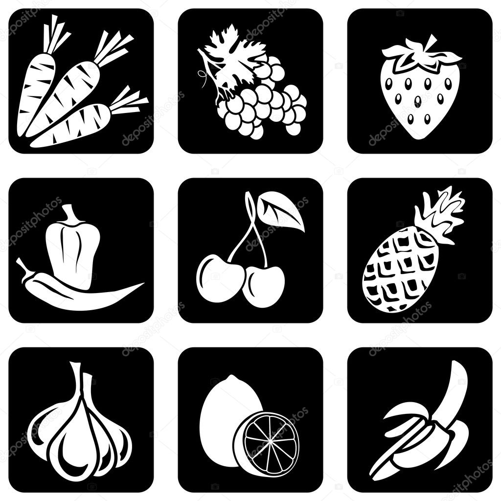 Set of vector silhouettes of icons on the food theme  — Stock Vector #1277645