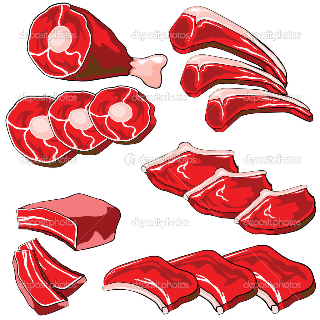 Set of vector icons on the theme raw meat  Stock Vector #1278505