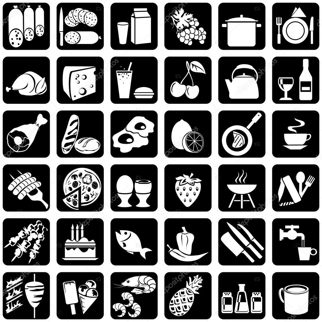 Set of vector silhouettes of icons on the food theme  — Vettoriali Stock  #1332797