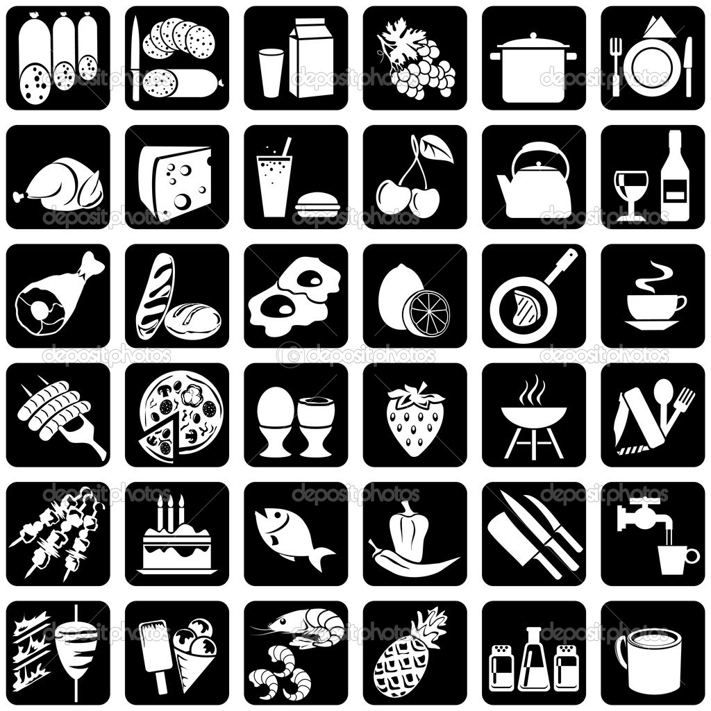 Set of vector silhouettes of icons on the food theme  — Imagen vectorial #1332797