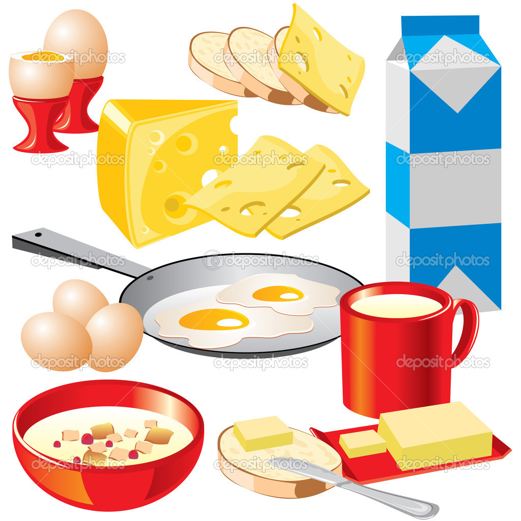 Set of vector images of dairy products for your design.  Stock Vector #1332798