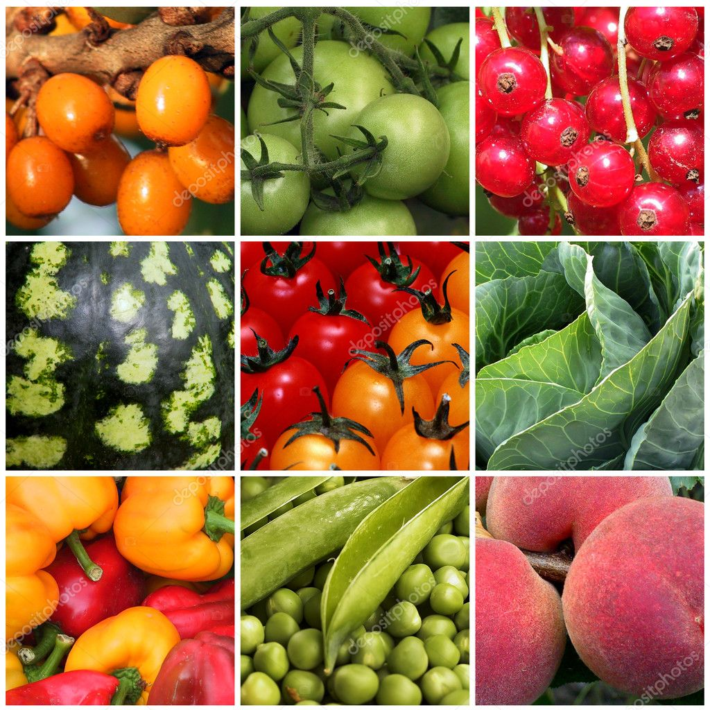 Set of background images of fruits and vegetables  Stock Photo #1408242