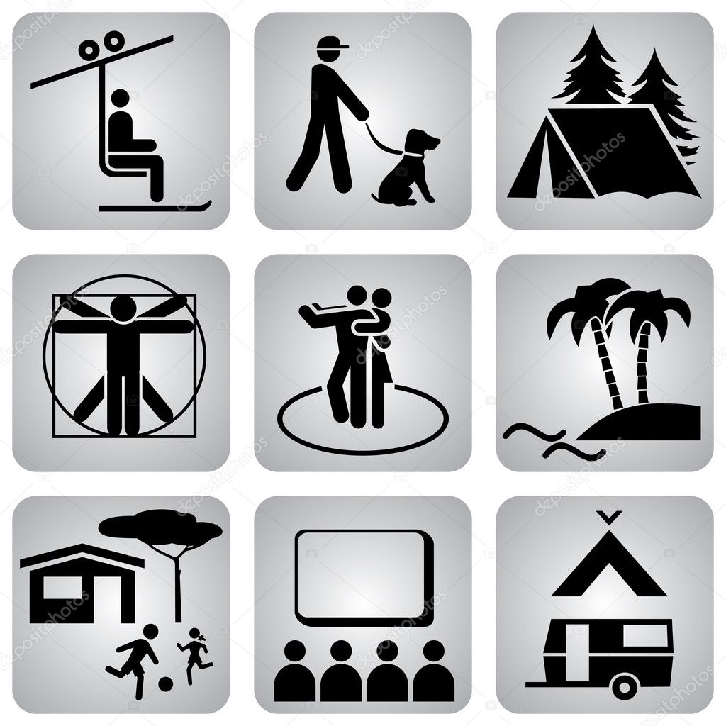 Set of vector icons. Activities and sports. Healthy lifestyle — Stock Vector #1643199