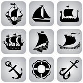 Ships icons — Stock Vector