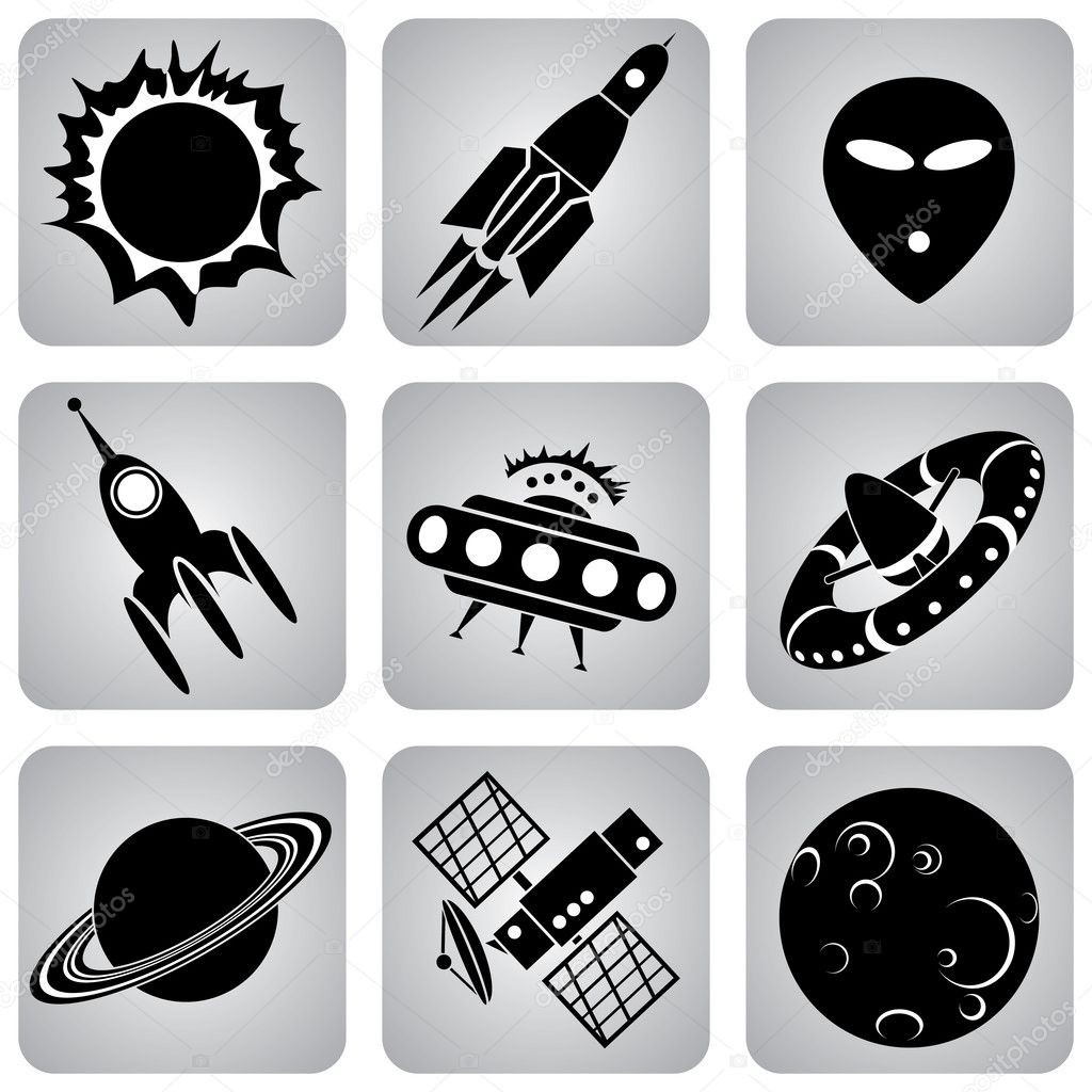 Set of vector icons. Space transport and flying machines  Image vectorielle #2071348