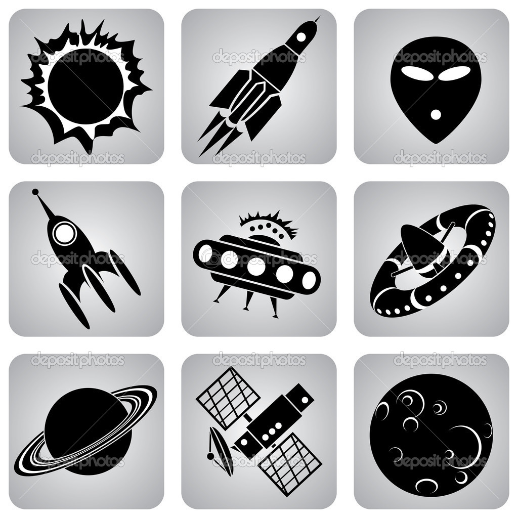 Set of vector icons. Space transport and flying machines  Stock Vector #2071348