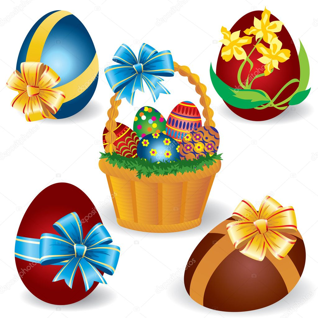 Vector Image baskets with Easter eggs — Stock Vector #2161389