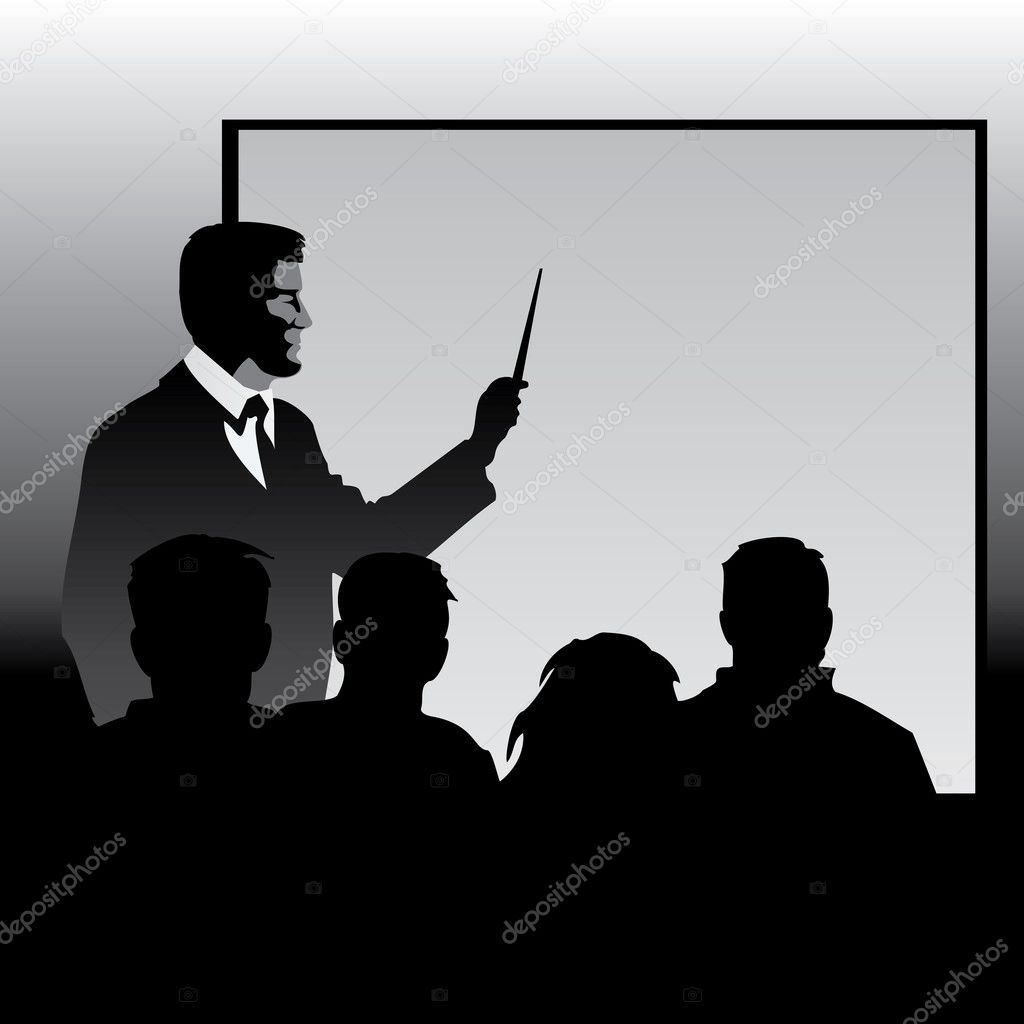 Teacher at the blackboard explaining disciples material. Vector image silhouettes. — Stock Vector #2569407