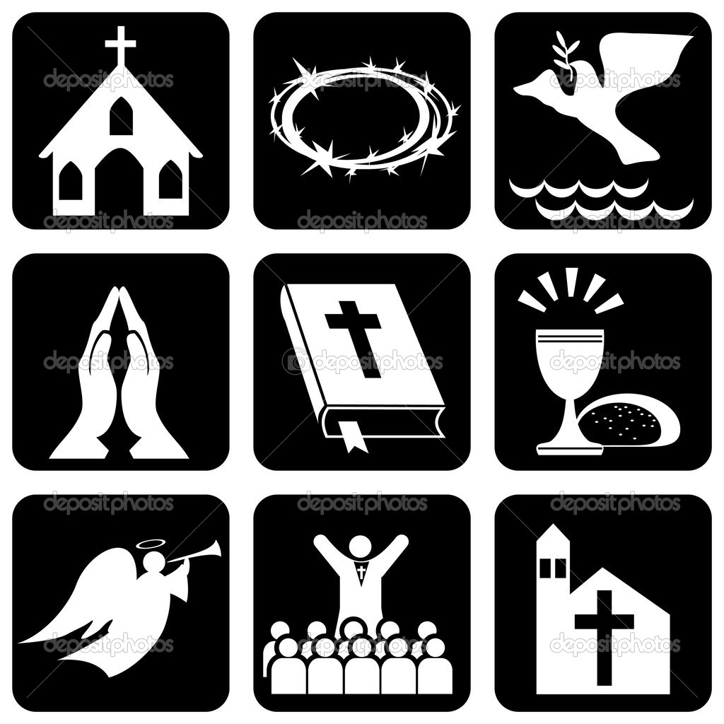 set of vector icons of religious christianity signs and symbols — Stock Vector #2594483
