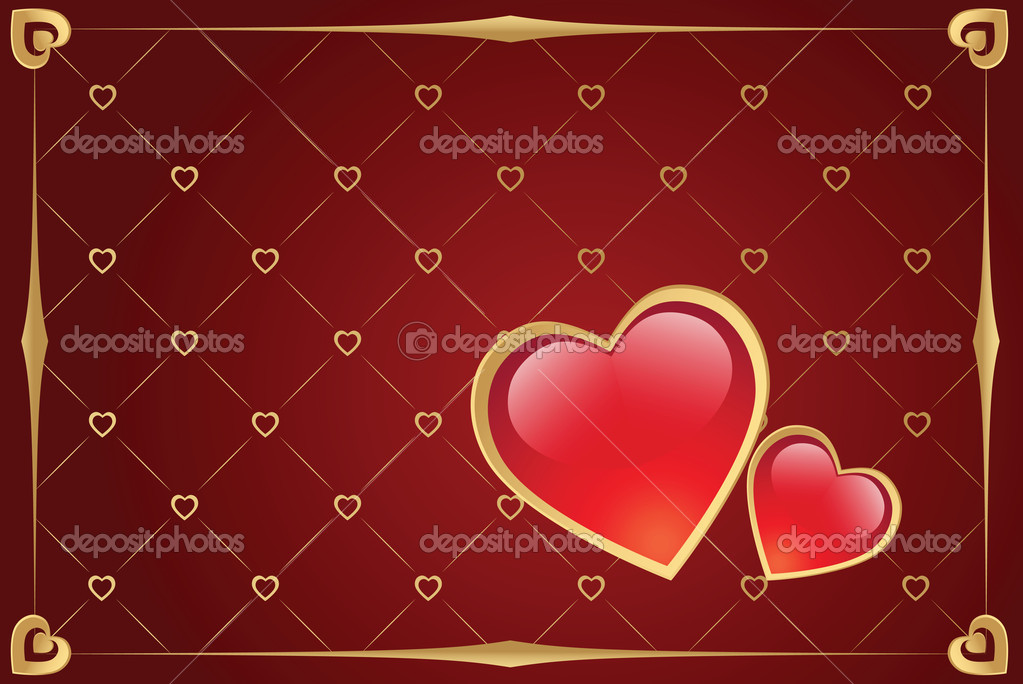 Valentine's day vector background with hearts and gold border — ベクター素材ストック #1140701