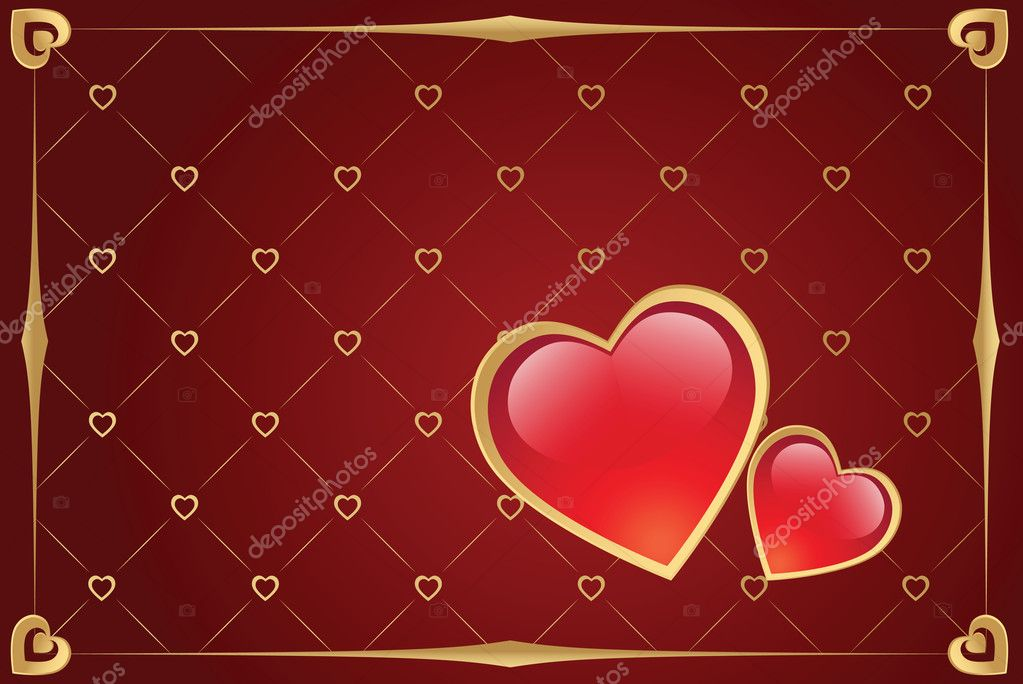 Valentine's day vector background with hearts and gold border — Stock Vector #1140701