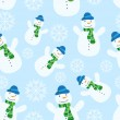 Stock Vector: Seamless pattern with snowman